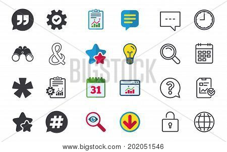 Quote, asterisk footnote icons. Hashtag social media and ampersand symbols. Programming logical operator AND sign. Speech bubble. Chat, Report and Calendar signs. Stars, Statistics and Download icons