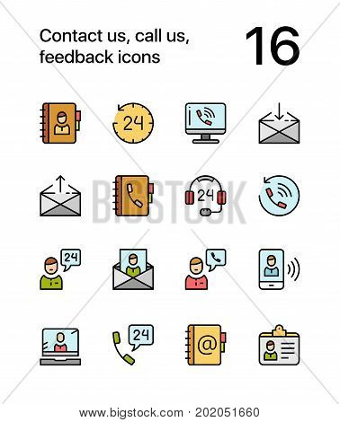 Colored Contact us, call us, feedback icons for web and mobile design pack 1
