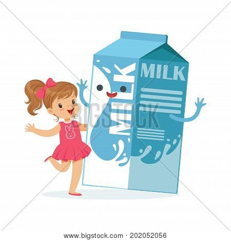 Cute little girl and funny milk carton box with smiling human face playing and having fun, healthy childrens food cartoon characters vector Illustration on a white background