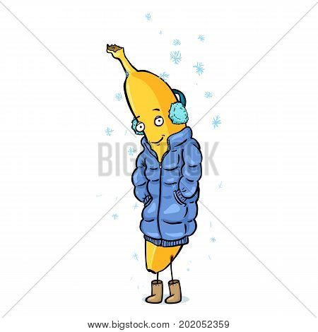 Vector Cartoon Character - Banana In Down Jacket And Fur Headphones Under The Snowfall