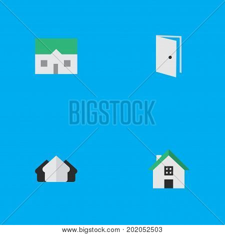 Elements House, Home, Entry And Other Synonyms Real, Estate And Property.  Vector Illustration Set Of Simple Property Icons.