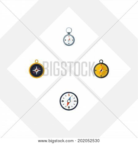 Flat Icon Compass Set Of Divider, Compass, Direction And Other Vector Objects