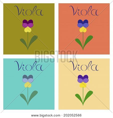 assembly of flat Illustrations nature plant Viola