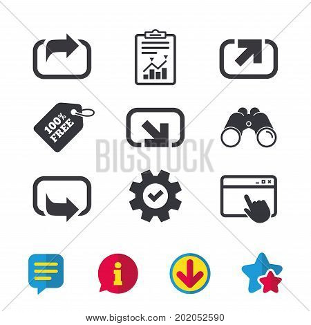 Action icons. Share symbols. Send forward arrow signs. Browser window, Report and Service signs. Binoculars, Information and Download icons. Stars and Chat. Vector