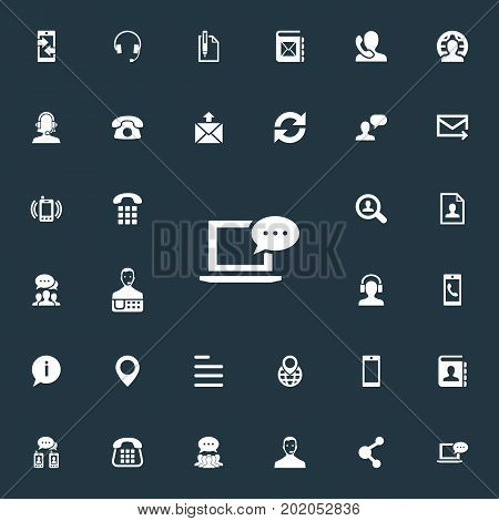 Elements Earpiece, Communication, Text And Other Synonyms House, Incoming And Collective.  Vector Illustration Set Of Simple Contact Icons.
