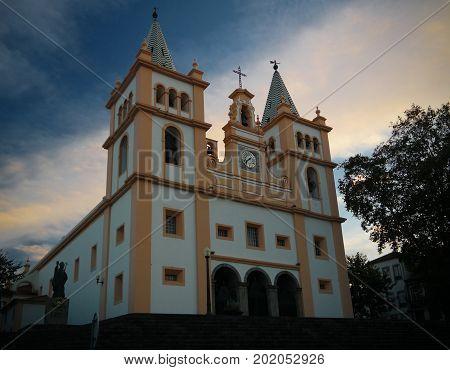 Exterior view to Santissimo Salvador da Se church at Angra do Heroismo Terceira Portugal