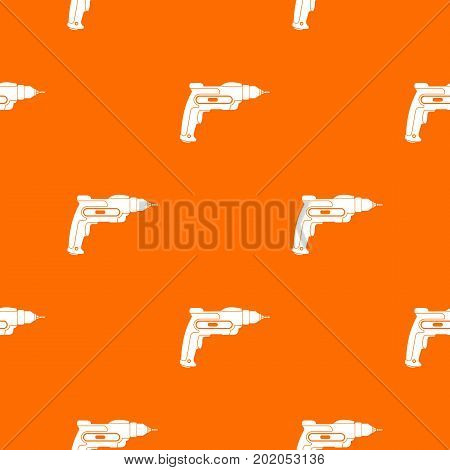 Hand drill pattern repeat seamless in orange color for any design. Vector geometric illustration