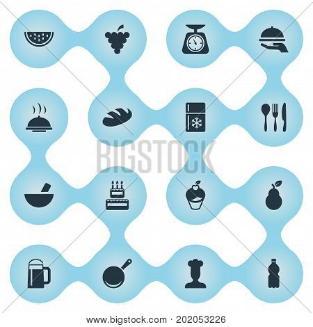 Elements Noodles, Plastic Bottle, Hot Dish And Other Synonyms Pub, Scale And Dishware.  Vector Illustration Set Of Simple Cuisine Icons.