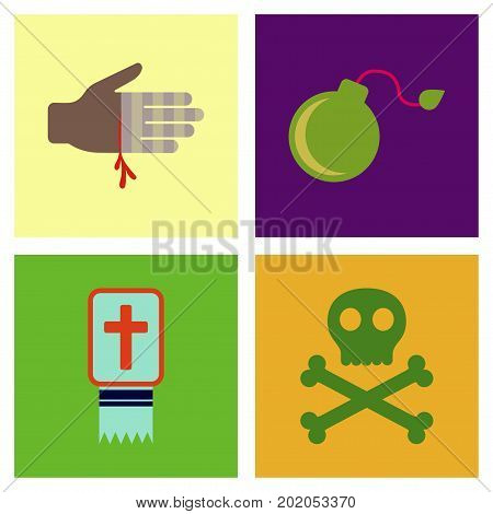 assembly of flat icons Halloween symbols scary