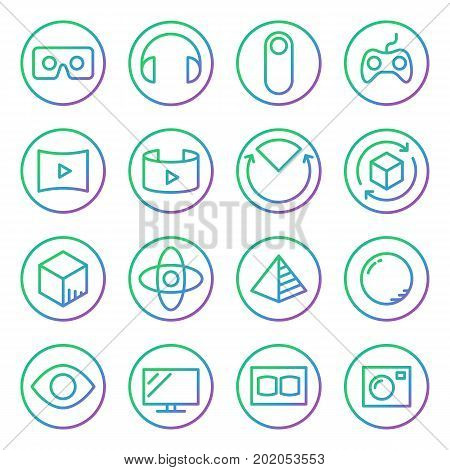 Gradient Rounded Line Icons For Virtual Reality Innovation Technologies. Uses Of Virtual Reality. On