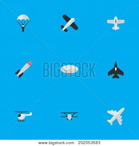 Elements Flying Vehicle, Catapults, Balloons And Other Synonyms Parachute, Vehicle And Plane.  Vector Illustration Set Of Simple Aircraft Icons.