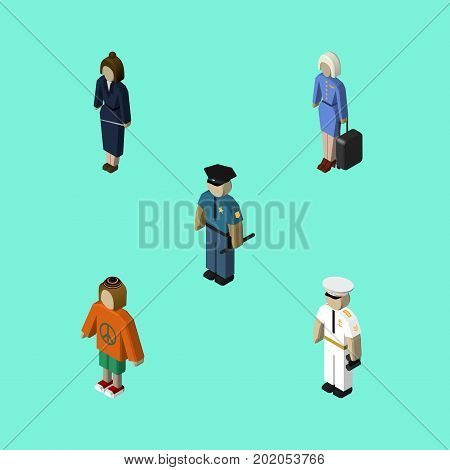 Isometric Person Set Of Officer, Seaman, Businesswoman And Other Vector Objects