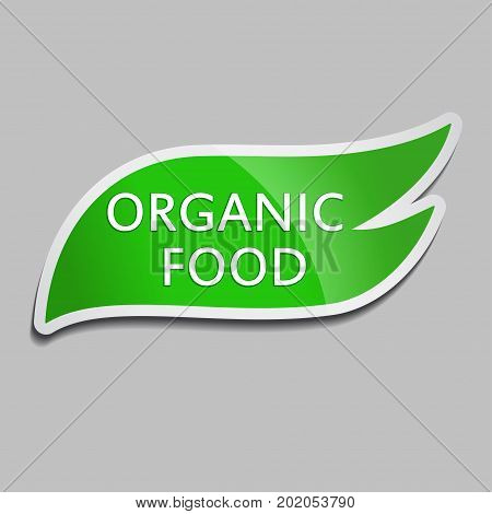 Green sticker Organic food. Vector Organic food icon for packaging design web-design advertising booklets Bio logo creation natural product design. Natural food label.