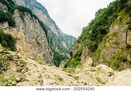 Picturesque view of mountain gorge in republic of North Ossetia - Alania, Russia