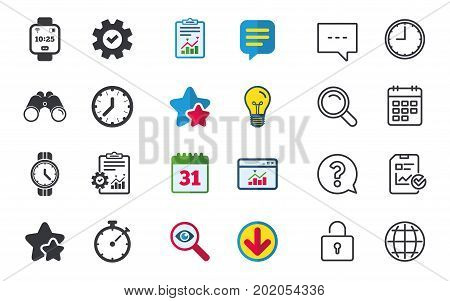 Smart watch icons. Mechanical clock time, Stopwatch timer symbols. Wrist digital watch sign. Chat, Report and Calendar signs. Stars, Statistics and Download icons. Question, Clock and Globe. Vector