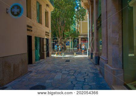 PALMA DE MALLORCA, SPAIN - AUGUST 18 2017: Street in old city of Palma de Mallorca, Spain.