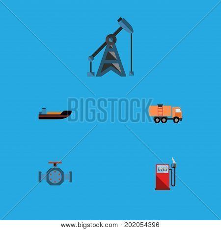 Flat Icon Fuel Set Of Petrol, Flange, Van And Other Vector Objects