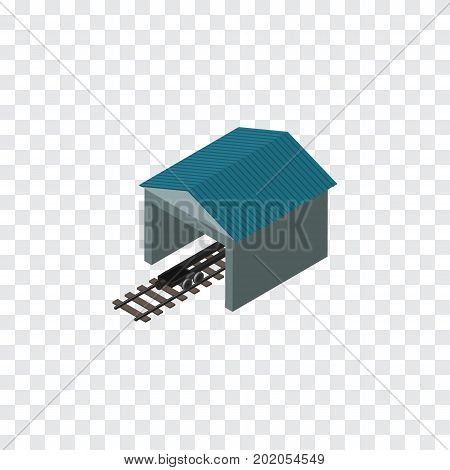 Depot Vector Element Can Be Used For Railway, Stop, Depot Design Concept.  Isolated Railroad Stop Isometric.