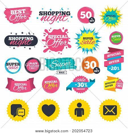 Sale shopping banners. Social media icons. Chat speech bubble and Mail messages symbols. Love heart sign. Human person profile. Web badges, splash and stickers. Best offer. Vector
