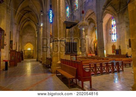 PALMA DE MALLORCA, SPAIN - AUGUST 18 2017: Beautiful indoor view of Saint Eulalia church located in Palma de Mallorca, Spain.