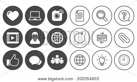 Social media icons. Video, share and chat signs. Human, photo camera and like symbols. Document, Globe and Clock line signs. Lamp, Magnifier and Paper clip icons. Question, Credit card and Refresh