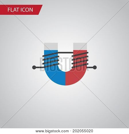 Attractive Force Vector Element Can Be Used For Attractive, Force, Magnet Design Concept.  Isolated Magnet Flat Icon.