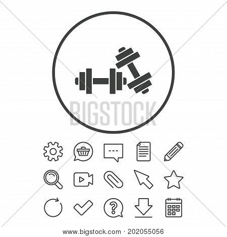 Dumbbells sign icon. Fitness sport symbol. Gym workout equipment. Document, Chat and Paper clip line signs. Question, Pencil and Calendar line icons. Star, Download and Shopping cart. Vector