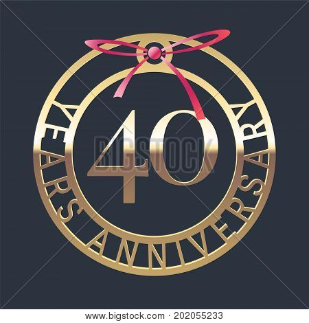 40 years anniversary vector icon symbol. Graphic design element or logo with golden medal and red ribbon for 40th anniversary