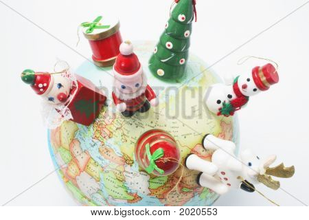 Christmas Ornaments On Globe