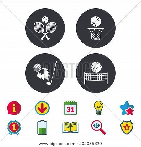 Tennis rackets with ball. Basketball basket. Volleyball net with ball. Golf fireball sign. Sport icons. Calendar, Information and Download signs. Stars, Award and Book icons. Vector