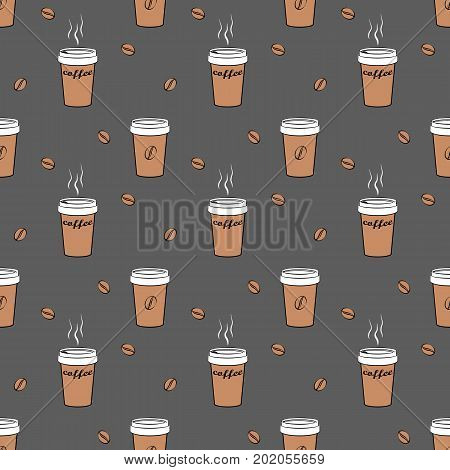 Coffee cup seamless pattern isolated on grey background. Coffee to go cups and coffee beans pattern.