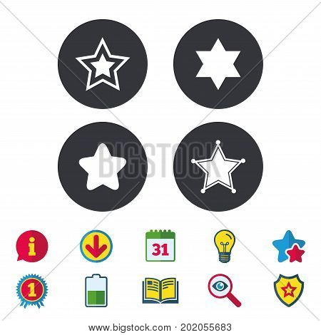 Star of David icons. Sheriff police sign. Symbol of Israel. Calendar, Information and Download signs. Stars, Award and Book icons. Light bulb, Shield and Search. Vector
