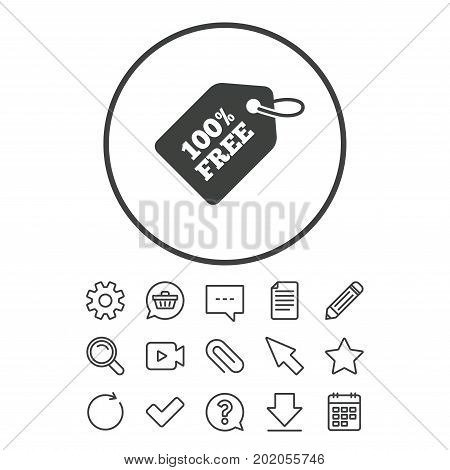 Free tag icon. Freebies banner symbol. Shopping special offer sign. Document, Chat and Paper clip line signs. Question, Pencil and Calendar line icons. Star, Download and Shopping cart. Vector