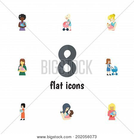 Flat Icon Mam Set Of Woman, Mother, Newborn Baby And Other Vector Objects