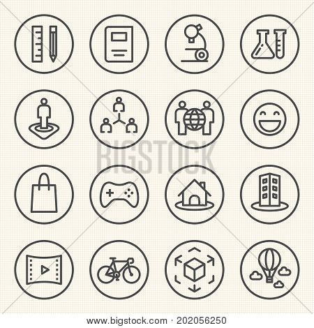Rounded Line Icons For Virtual Reality Innovation Technologies. Uses Of Virtual Reality.
