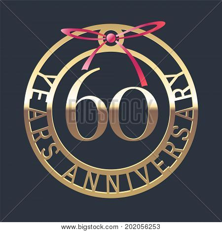 60 years anniversary vector icon symbol. Graphic design element or logo with golden medal and red ribbon for 60th anniversary