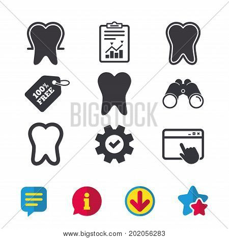 Tooth enamel protection icons. Dental toothpaste care signs. Healthy teeth sign. Browser window, Report and Service signs. Binoculars, Information and Download icons. Stars and Chat. Vector
