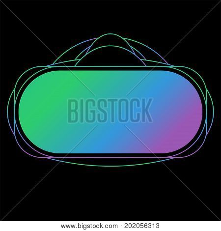 Virtual Reality Headset Display. Stereoscopic Virtual Reality Vector Illustration. Line And Gradient