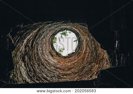 Pipe of  old clay kiln, view from inside, tunnel or corridor concept