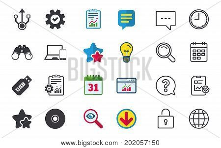 Usb flash drive icons. Notebook or Laptop pc symbols. Smartphone device. CD or DVD sign. Compact disc. Chat, Report and Calendar signs. Stars, Statistics and Download icons. Question, Clock and Globe