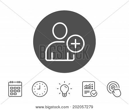 Add User line icon. Profile Avatar sign. Person silhouette symbol. Report, Clock and Calendar line signs. Light bulb and Click icons. Editable stroke. Vector