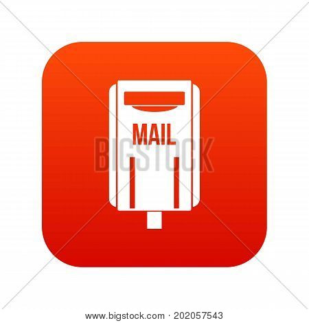 Post box icon digital red for any design isolated on white vector illustration