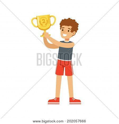 Young athletes boy holding winner cup, kid celebrating his second place cartoon vector Illustration on a white background