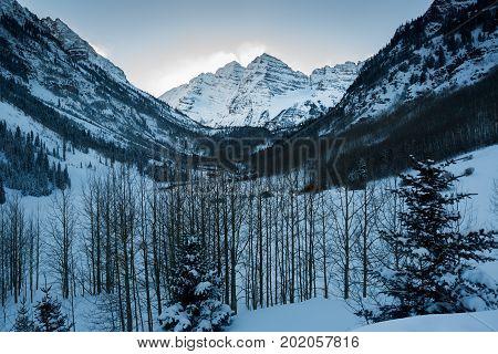 A beautiful winter landscape snow covered Maroon Peak, Aspen, Colorado.