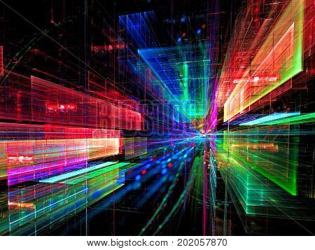 Colorful sci fi or technology background - abstract computer-generated image. Fractal art glowing rectangles with perspective. Science fiction, virtual reality or data science concept.