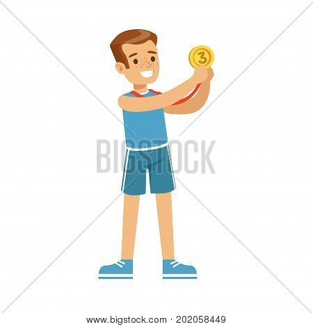 Young smiling boy with a third place medal, kid celebrating his bronze medal cartoon vector Illustration on a white background