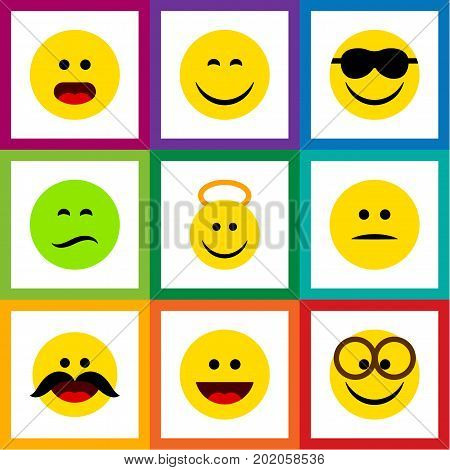 Flat Icon Expression Set Of Cheerful, Pleasant, Smile And Other Vector Objects