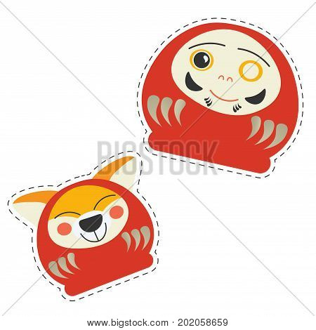 Vector cartoon stickers templates for Japanese Lunar New Year of the Dog. Daruma Doll with a cute dog face and classical kawaii Daruma doll with one eye.