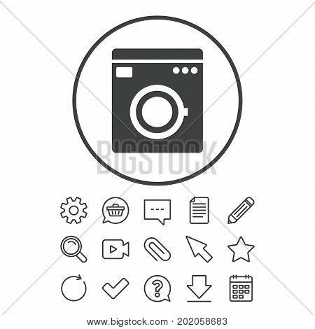 Washing machine icon. Home appliances symbol. Document, Chat and Paper clip line signs. Question, Pencil and Calendar line icons. Star, Download and Shopping cart. Vector
