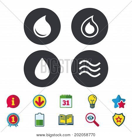 Water drop icons. Tear or Oil drop symbols. Calendar, Information and Download signs. Stars, Award and Book icons. Light bulb, Shield and Search. Vector